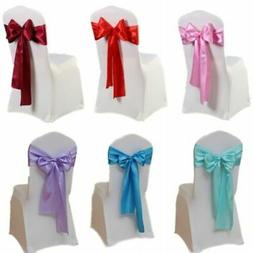 10/20/50pcs Satin Chair Cover Sashes Bows Ties Wedding Party