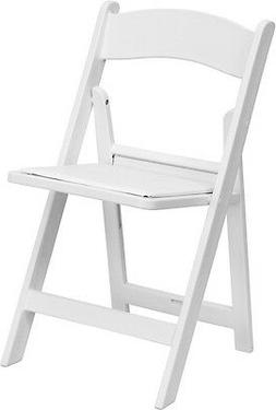 4 PACK White Resin Folding Chair with White Vinyl Padded Sea