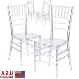 4 Pcs Crystal Wedding Stacking Chiavari Chair Clear Side Din