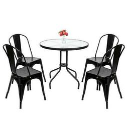 4pcs Tolix Style Dining Side Chair Arm Chairs Stackable Bist