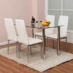 5 Piece Dining Table Set with 4 Chairs Glass Metal Funiture