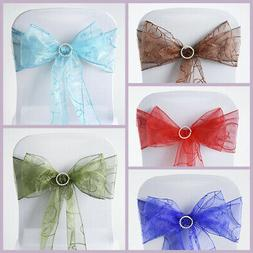 10 New Embroidered on Sheer Organza Chair Sash Bows Ties Wed