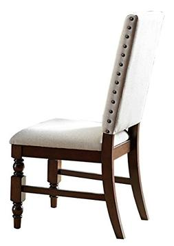 Homelegance 5167FS Fabric Dining Chair with Nailheads, Beige