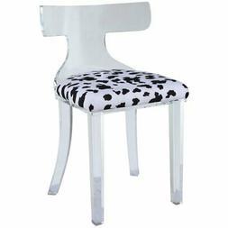 ACME Bradley Shaggy Velvet Dining Side Chair in Black and Wh