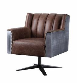 Acme Industrial Brancaster Desk Chair With Retro Brown Finis