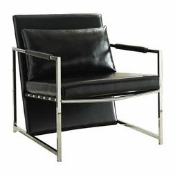 ACME Rafael Accent Chair in Black and Stainless Steel