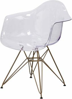 Flash Furniture Alonza Series Transparent Side Chair with Go