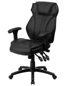 High Back Black Leather Executive Office Chair Triple Paddle