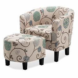 Barrel Accent Tub Upholstered Chair W/Ottoman Foot Rest Livi