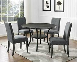 Roundhill Furniture Biony Gray Fabric Dining Chairs with Nai