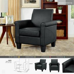 Black Modern Leather Accent Chair Living Room Arm Chairs  Si