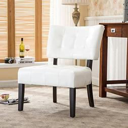 Roundhill Furniture Blended Leather Tufted Accent Chair with