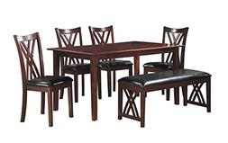 Homelegance Brooksville 6-Piece Dining Table Set with Bench,