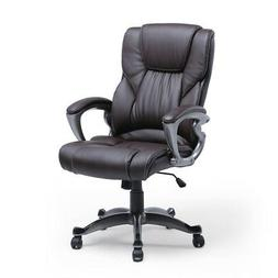 Brown PU Leather High Back Office Chair Executive Task Ergon