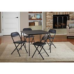 Card Folding Table and 4 Chairs Dining Black Card Game Party