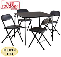 Card Table & Chairs Folding Game Table 4 Chairs Extra Seatin