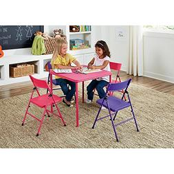 5 Piece Children's, Kids Table and Chair Set Pink / Purple T