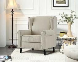 Classic Living Room Linen Fabric Armchair, Chair with Shelte