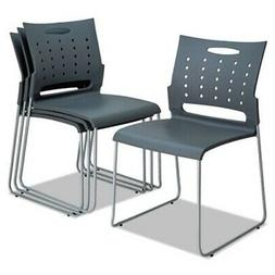Alera Continental Series Stacking Chairs, Charcoal, 4 Chairs
