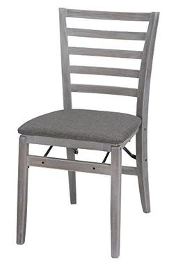 COSCO Contoured Back Wood Folding Chair with Fabric Seat, Gr