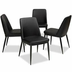 Baxton Studio Darcell Faux Leather Dining Chair in Black