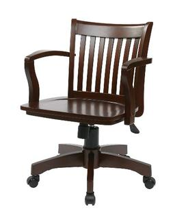 Office Star Deluxe Wood Bankers Desk Chair with Wood Seat, E