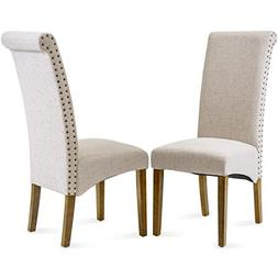 Merax Dining Chair Set of 2 Fabric Padded Side Chair with So