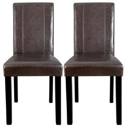 Dining Parson Chair Set of 2 Armless Kitchen Room Brown Leat