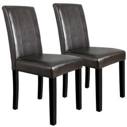 Dining Side Chairs Set of 2 High Brown PU Leather Elegant De