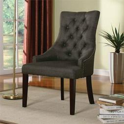 ACME Furniture Drogo Fabric Side Chair in Gray and Walnut