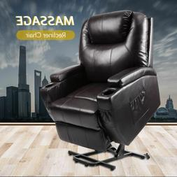 Electric Power Lift Recliner Chair W/Massage Sofa Real Leath