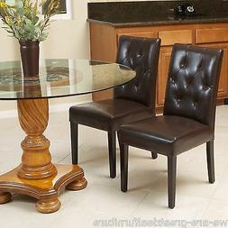 Set of 2 Elegant Brown Leather Dining Room Chairs With Tufte