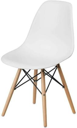 Flash Furniture Elon Series White Plastic Chair with Wooden