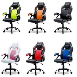 ERGONOMIC GAMING RACING CHAIR COMPUTER DESK SWIVEL OFFICE EX