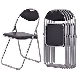 Giantex 6 PCS Folding Chair with Carrying Handle PU Leather