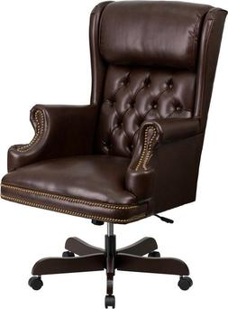 High Back Traditional Tufted Brown Leather Executive Office