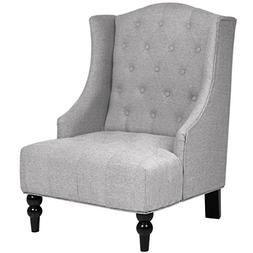 Best Choice Products Tall Wingback Tufted Fabric Accent Chai