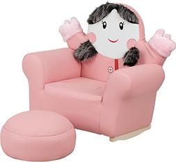 Flash Furniture Kids Pink Little Girl Rocker Chair and Footr