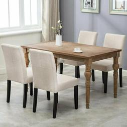 Fabric Dining Chairs Armless Room Chair Accent Solid Wood Se