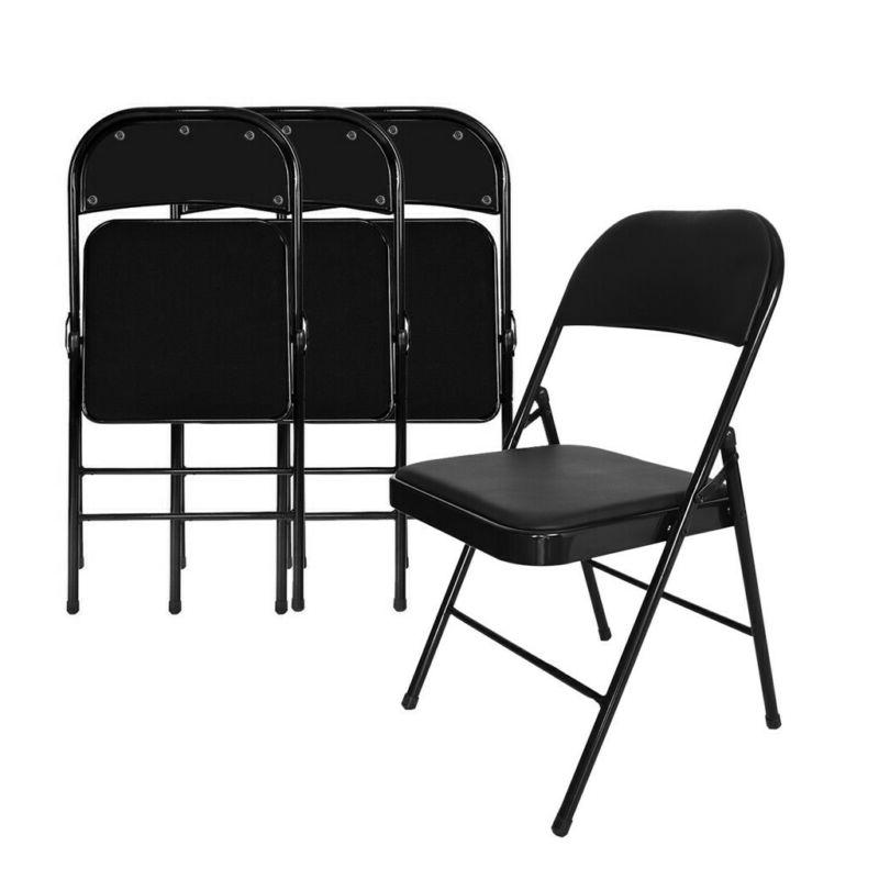 Alera Steel Folding Chair With Padded Seat, Graphite Grey, S