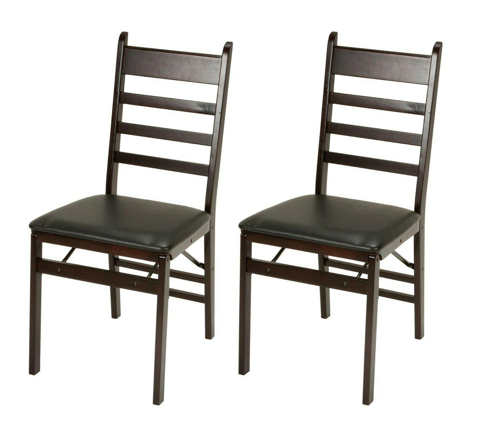 Cosco Espresso Wood Folding Chair with vinyl seat & Ladder B