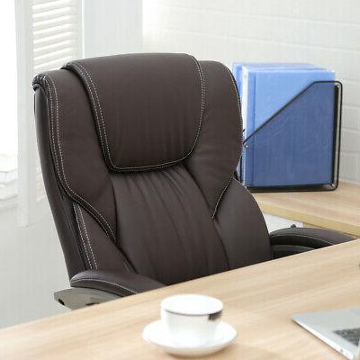 Brown PU Leather High Back Office Chair Executive Task Ergonomic Computer