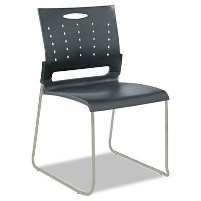 Alera Perforated Back Stacking Chairs, Gray, 4/CT