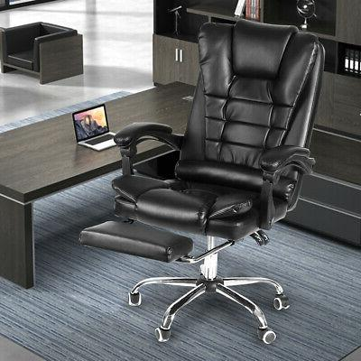 Executive Office Racing Gaming Leather High Back Recliner W/ Footrest