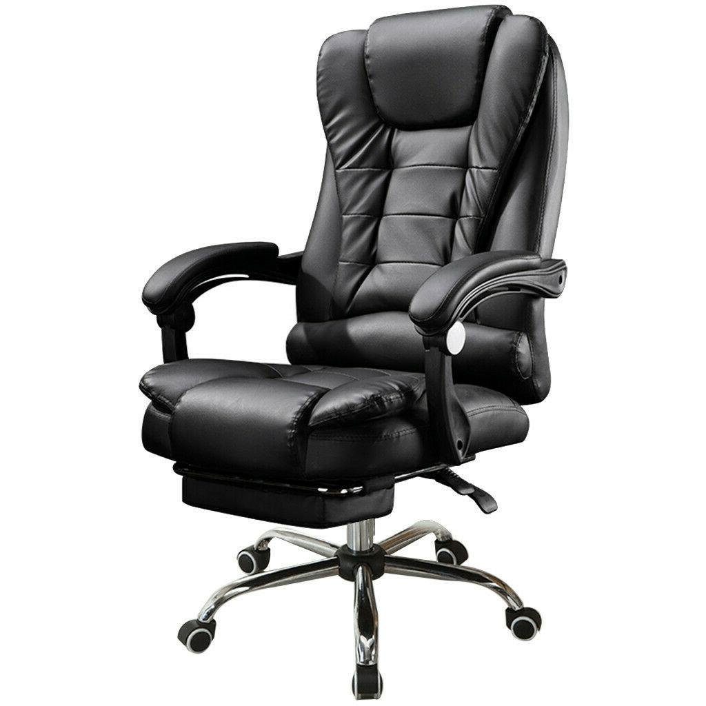Black Chair High Back Office PC Footrest