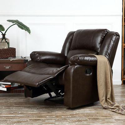 Recliner Chairs For Living Room Dark Brown / Black Leather U