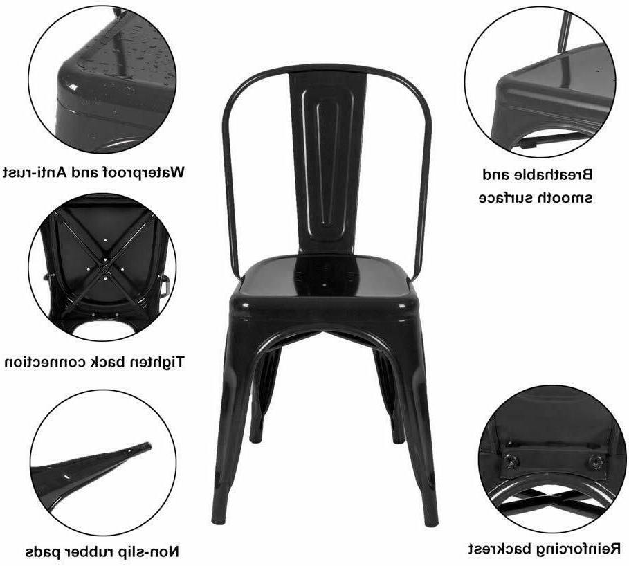 Set Stunning Metal Dining Chairs kitchen Dining Room Home Black