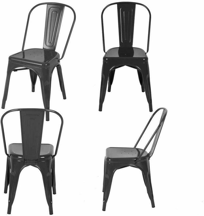Set of 4 Stunning Metal Dining Chairs Dining Room Black