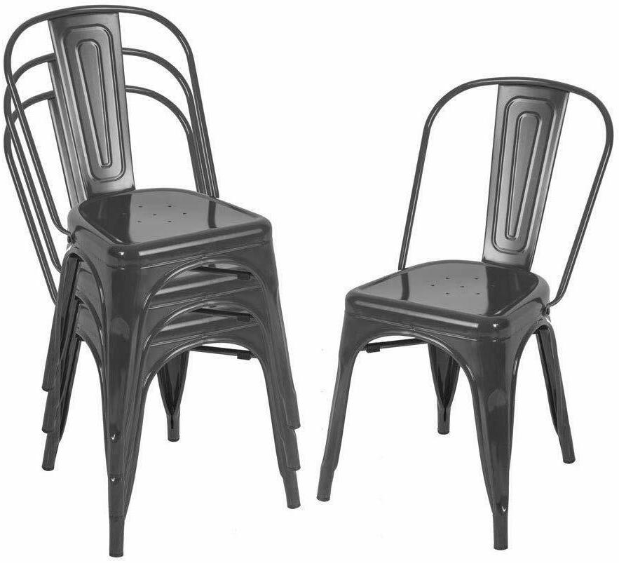 set of 4 stunning metal dining chairs