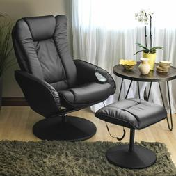 Best Choice Products Leather Massage Recliner and Ottoman Se